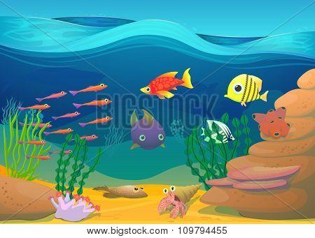 Cartoon fish with seaweed illustration