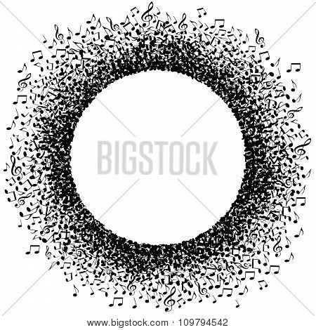 Musical notes buzz around a circle