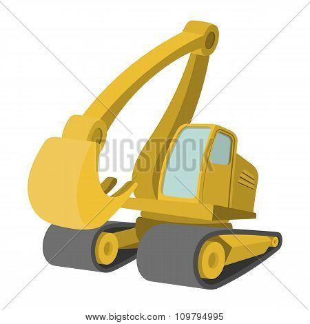 Excavator cartoon icon