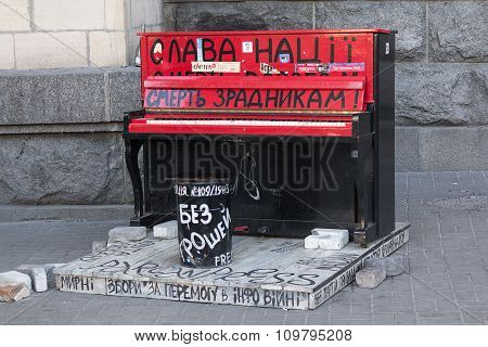 Kiev, Ukraine - September 11, 2015: Piano at the Independence Square