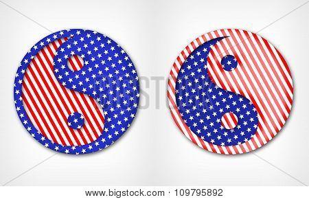 Yin Yang American symbol
