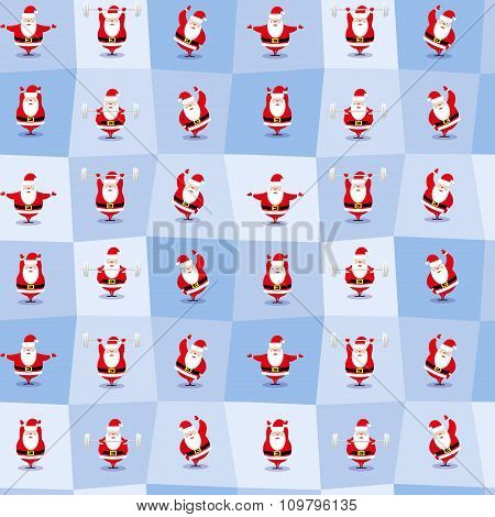 Vector Seamless Background  Funny Santa Claus Different Character Does Morning Exercises