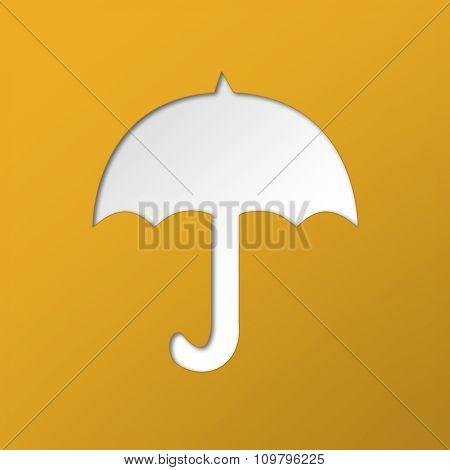 White umbrella on a orange background.