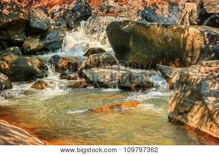 Small River With Thresholds In The Tropical Indian Jungle