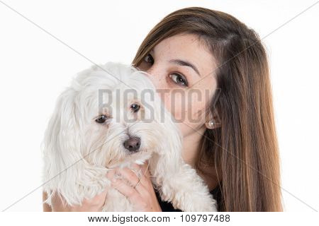 Beautiful Brunette Woman With Her Dog, Studio Shot. Isolated