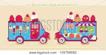 Ice cream truck van. Ice cream shop on wheels.