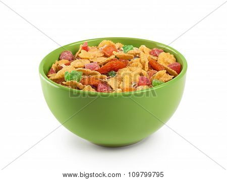 Bowl Of Muesli And Dried Fruit Isolated On A White Background.