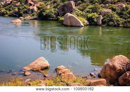 View Of The Bank Of The Lake, Hampi, Karnataka, India.