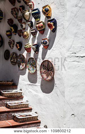 Typical Souvenir Shop In The White Village Of Mijas, In Costa Del Sol.