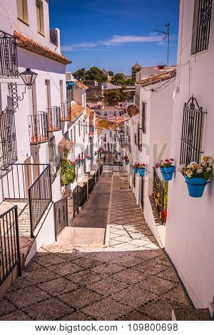 Picturesque Street Of Mijas. Charming White Village In Andalusia, Costa Del Sol. Southern Spain