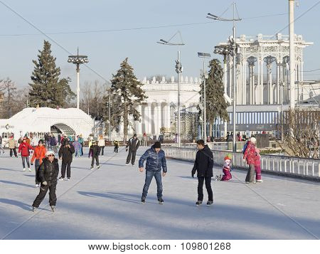 Winter Skating Rink In Moscow