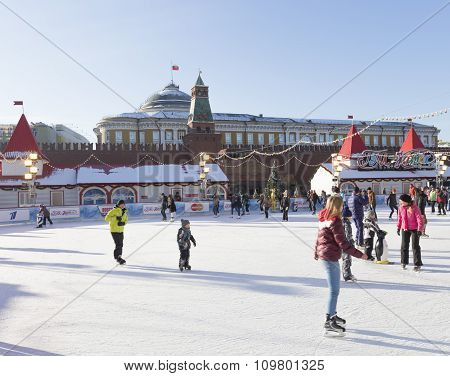 Wonderful Ice Rink On Red Square