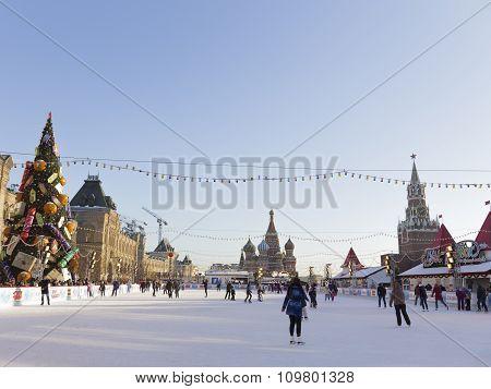 Wonderful Large Skating Rink On Red Square