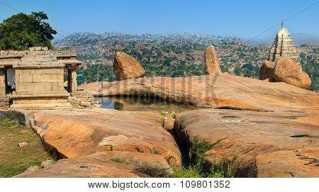 Hampi, India - November 19, 2012: Ruins of Hampi near Hemakuta hill sunset point Hampi, Karnataka, India.