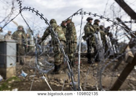 The Army Of F.y.r. Of Macedonia Continues The Fence Construction At The Greek - Fyrom Border To Stop
