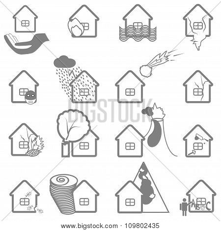 Property Insurance Icon Set.