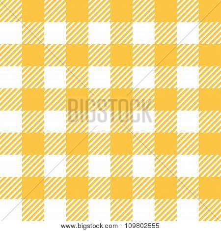 Tablecloth In Yellow With Checkered Design