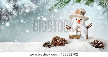 Seasonal Background With Happy Snowman