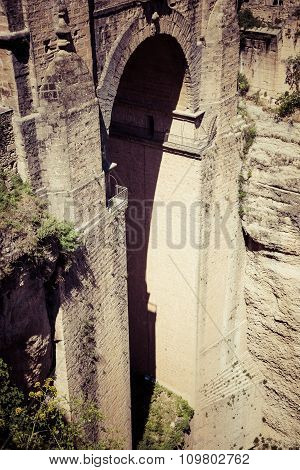 Bridge Of Ronda, One Of The Most Famous White Villages Of Malaga, Andalusia, Spain