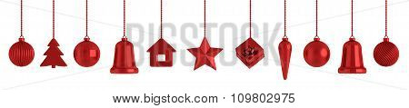 Red Christmas Baubles Isolated 3D Rendering