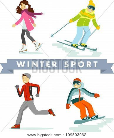 Set of winter sports and activities in flat style