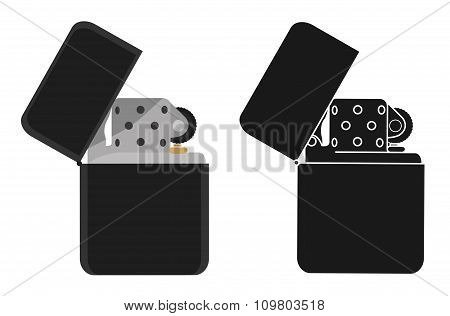 Black gasoline lighter. Color, silhouette