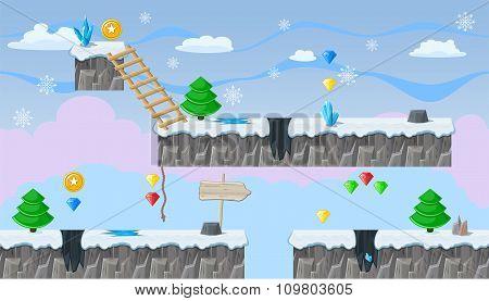 Seamless Editable Winter Landscape For Platform Game Design