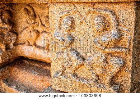 Detail of the temple of Hazararama hindu temple in Hampi Karnataka India.