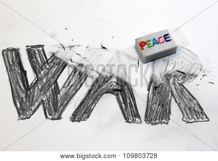 Eraser With Written Peace Deletes The Written War