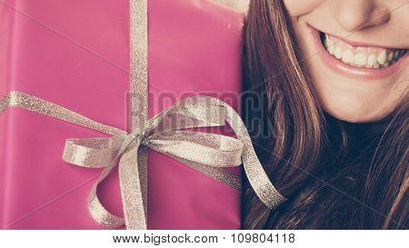 GIrl With Pink Box Gift. Christmas Holiday