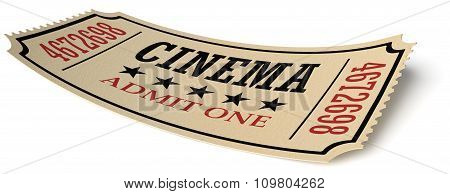 Retro Cinema Ticket Isolated On White With Shadow