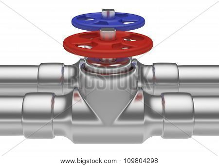 Red And Blue Valves On Steel Pipes