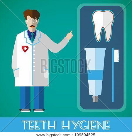 Teeth Hygiene Vector Banner Illustration