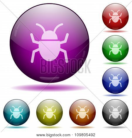 Computer Bug Glass Sphere Buttons