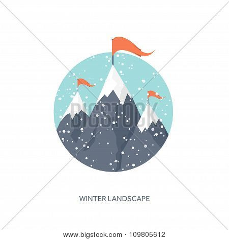 winter landscape with mountain