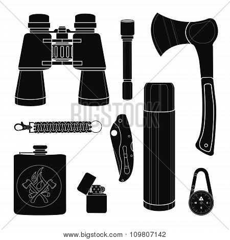 Camping equipment silhouettes set