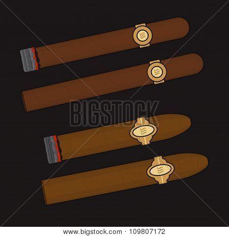 Burning cigars set