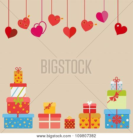 Hanging Hearts And Gift Boxes. Flat Design