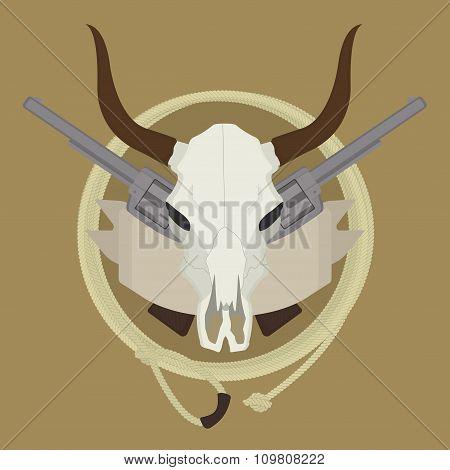 Wild west cow skull, pistols, ribbon, lasso emblem