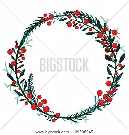 Hand drawn wreath with red berries and fir branches. Round frame for Christmas cards and winter desi