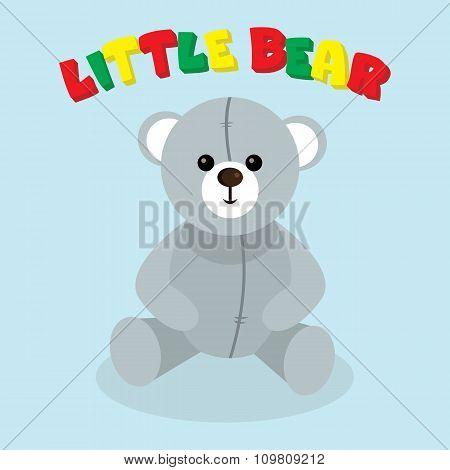 Vector little bear. Grey teddy.