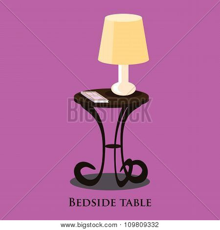 Vector bedside table. Purple background.