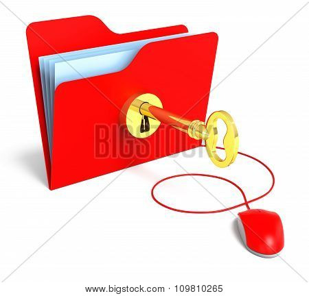 Folder With Old Gold Key And Computer Mouse. 3D Rendering