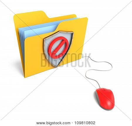 Yellow Computer Folder With Shield And Stop Sign. 3D Rendering