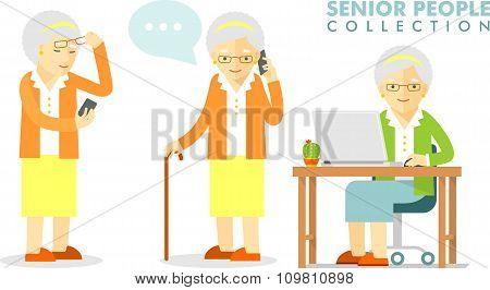 Social concept - old woman using computer and mobile phone
