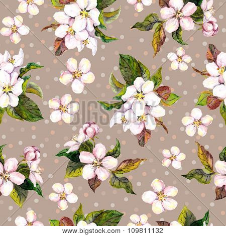 Seamless floral wallpaper with aquarelle painted spring cherry or apple flowers on brown background