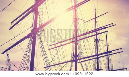 Retro Vintage Toned Sailing Masts At Sunset, Travel Concept