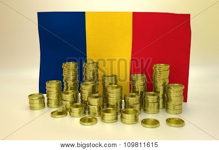 Golden coins and Romanian flag