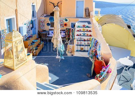 Traditional greek souvenir store in Oia town of Santorini island, Greece