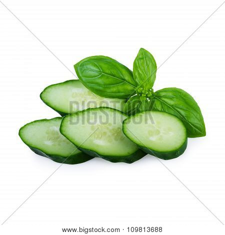 Cucumbers Slices Isolated on White